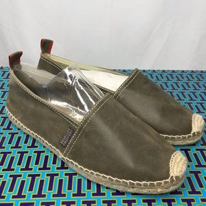 Penelope Chilvers Olive Green Leather Espadrilles